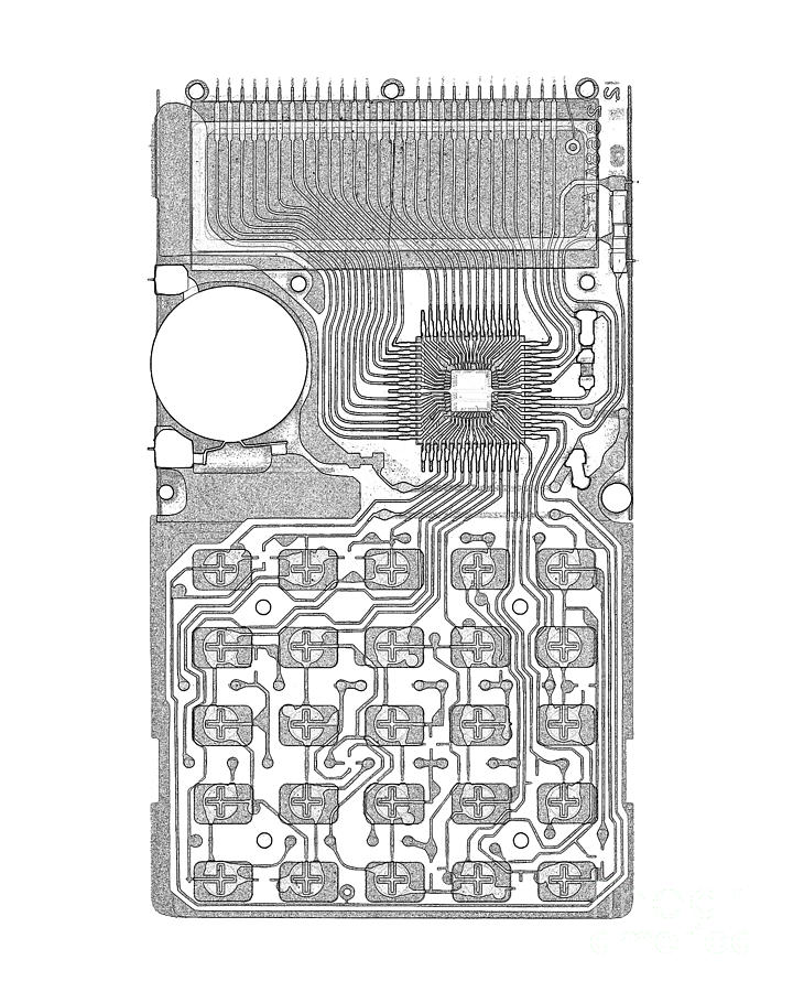 Radiograph Photograph - X-ray Of Calculator by Bert Myers