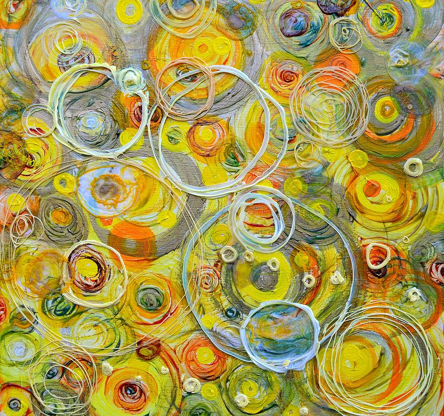Circle Painting - Yellow Counterpoint by Regina Valluzzi