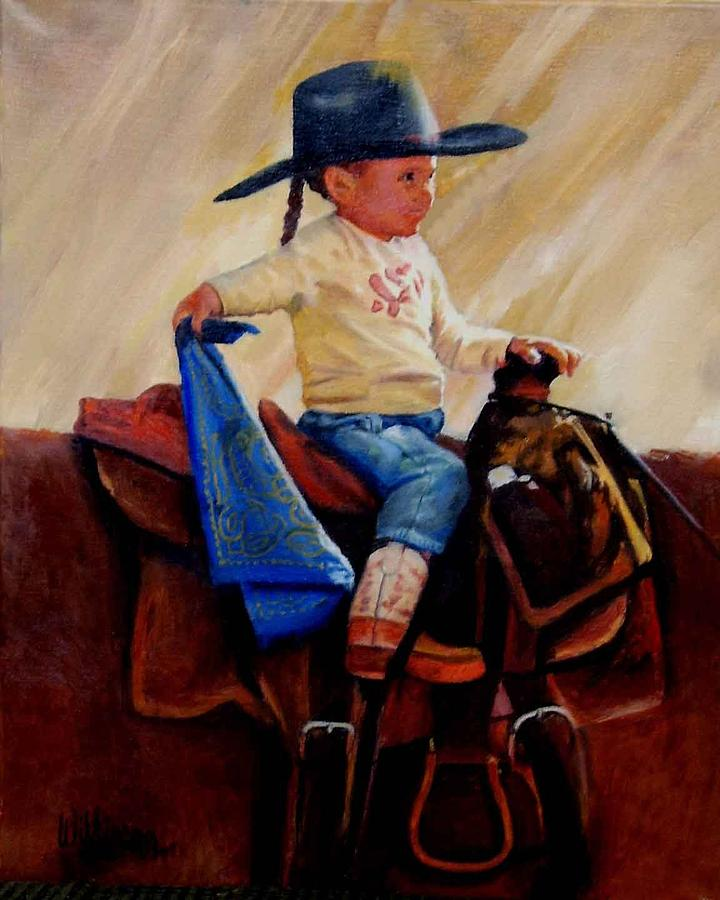 Cowgirls Painting - Young Cowgirl by Ronald Wilkinson