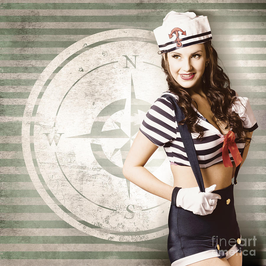 Yachting Photograph - Young Sailor Pin Up Girl On Travel Cruise Compass by Jorgo Photography - Wall Art Gallery