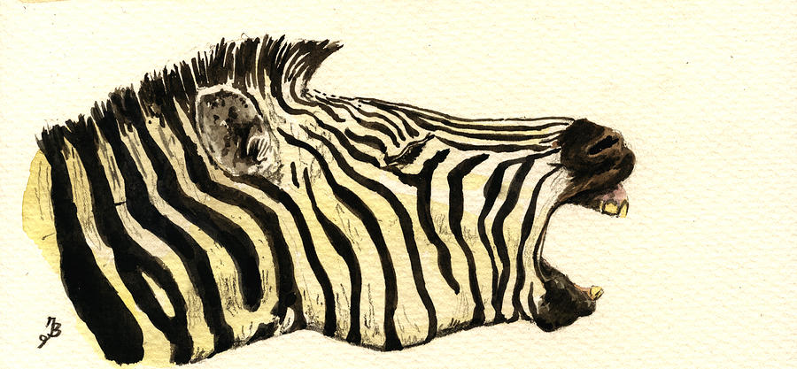 Zebra Painting - Zebra Head Study by Juan  Bosco