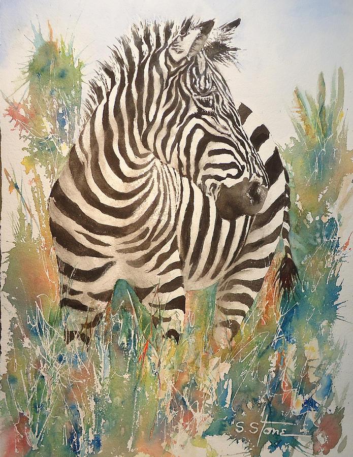 Zebra Painting - Zebra by Sandra Stone