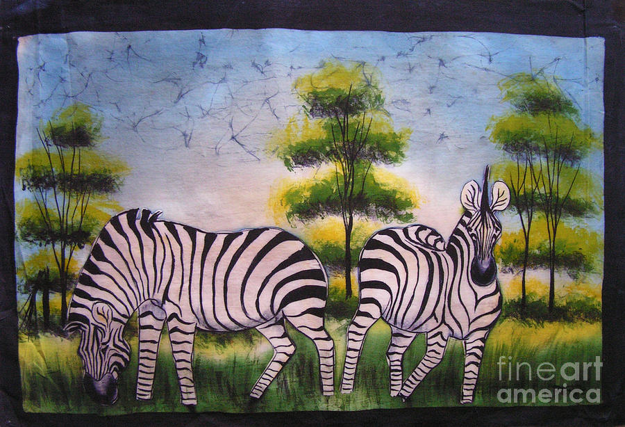 African Painting - Zebras In The Daytime by Peter Mkoweka