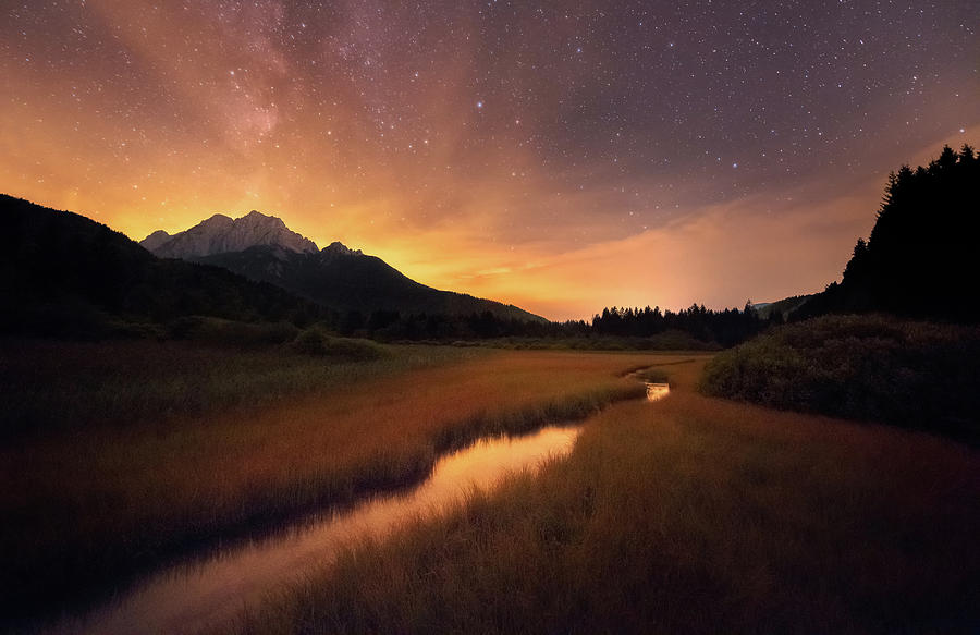 Night Photograph - Zelenci Springs by Ales Krivec