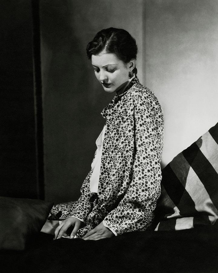 Zita Johann Wearing A Floral Coat Photograph by George Hoyningen-Huene