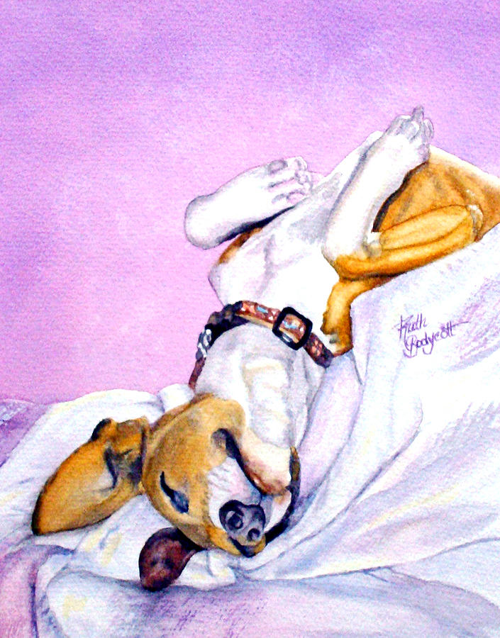 Dogs Painting - Zonked Into Blissfulness by Ruth Bodycott
