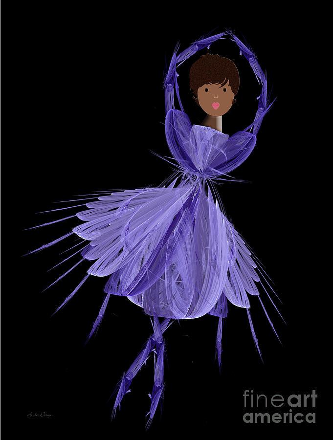 Ballerina Digital Art - 10 Blue Ballerina by Andee Design