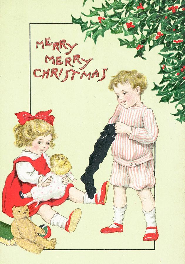 Christmas Painting - Christmas Card by English School