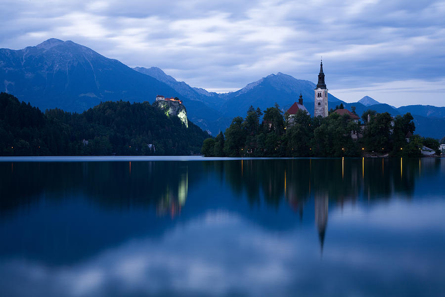 Bled Photograph - Dusk Over Lake Bled by Ian Middleton