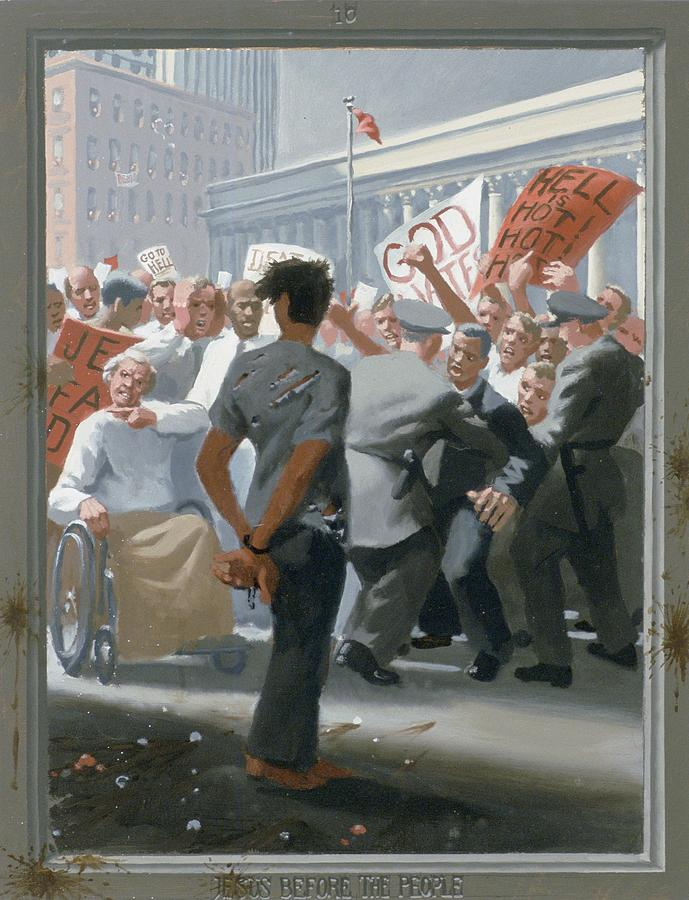Jesus Painting - 10. Jesus Before The People / From The Passion Of Christ - A Gay Vision by Douglas Blanchard