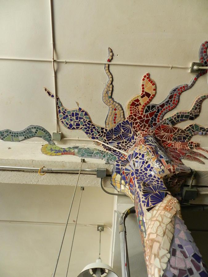 Mosaic Pillar Ceramic Art by Charles Lucas