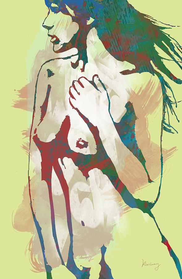 Nude Drawing - Nude Pop Stylised Art Poster by Kim Wang