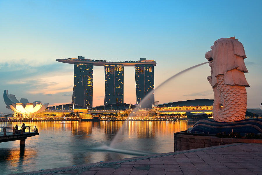 Singapore Photograph - Singapore Skyline by Songquan Deng