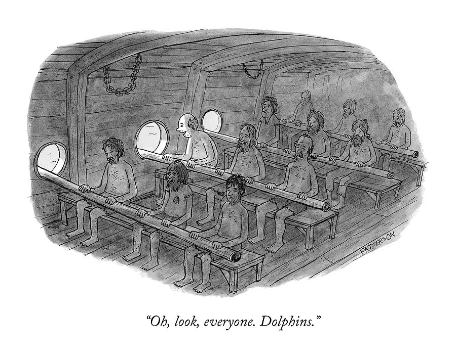 Oh, Look, Everyone. Dolphins Drawing by Jason Patterson
