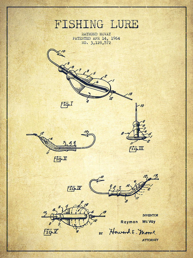 Vintage Fishing Lure Patent Drawing From 1964 Drawing by ...