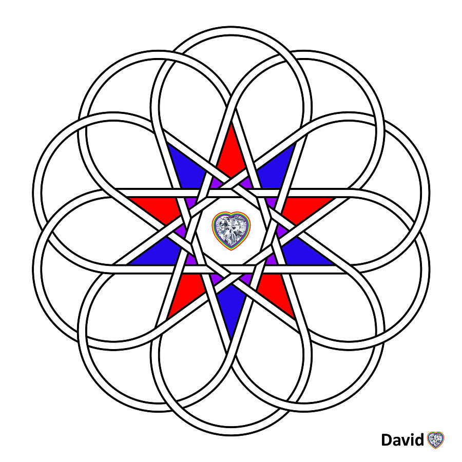 Unity Digital Art - 10 Woven Hearts by David Diamondheart