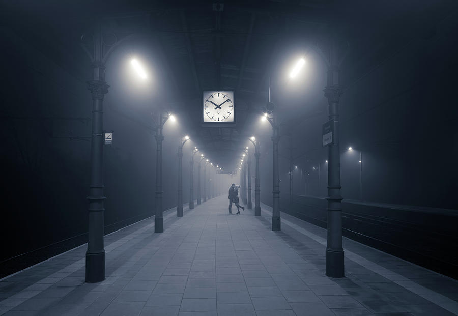 Train Station Photograph - 10:09 Pm by Adam Brzuszek