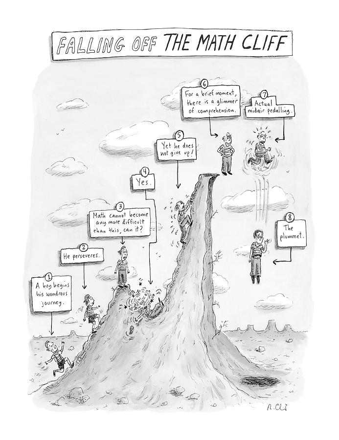 Falling Off The Math Cliff Drawing by Roz Chast