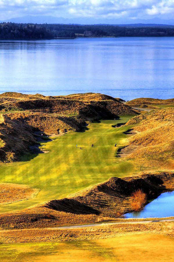 Chambers Bay Golf Course Photograph - 10th Hole At Chambers Bay by David Patterson