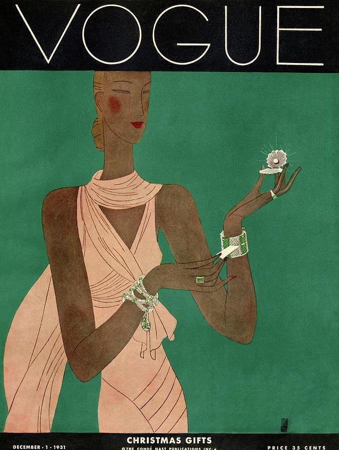A Vintage Vogue Magazine Cover Of A Woman Photograph by Eduardo Garcia Benito