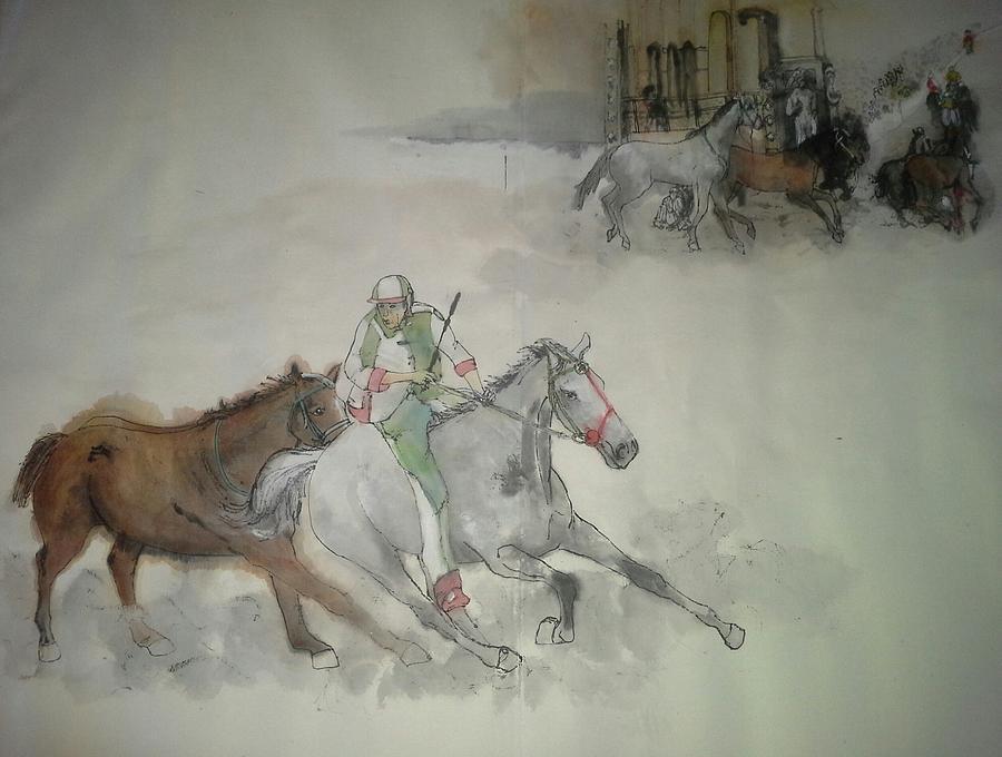 Italian Il Palio Horse Race Album Painting by Debbi Saccomanno Chan