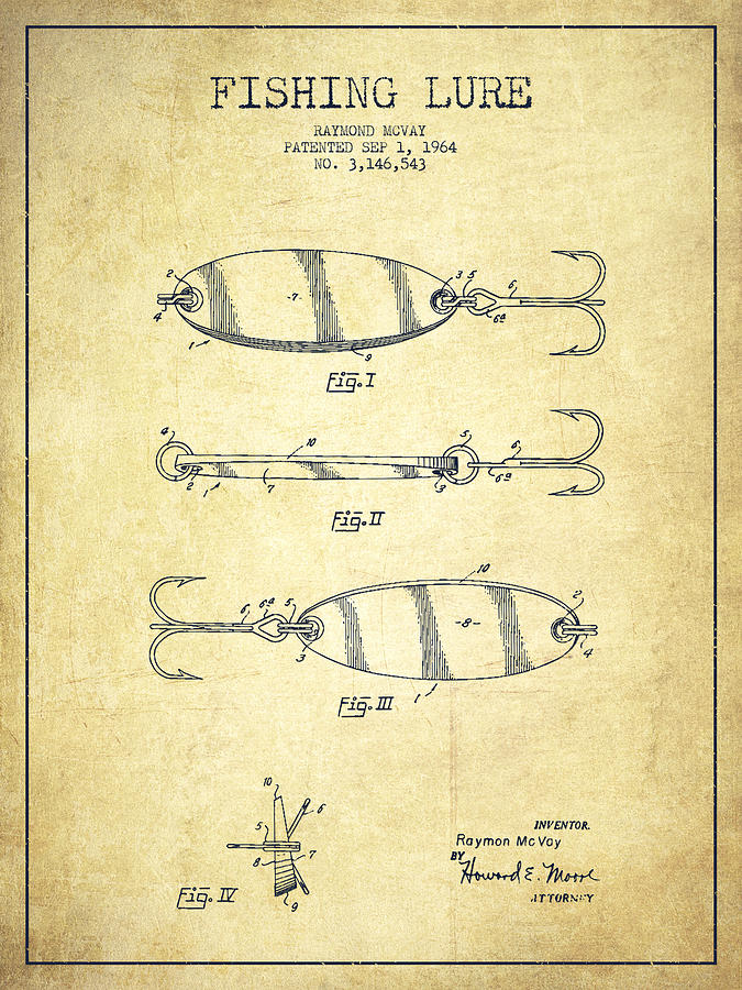 Vintage Fishing Lure Patent Drawing From 1964 Drawing