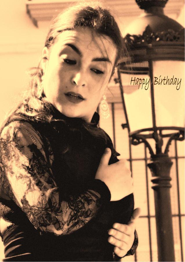 114 Chiki Torres Birthday Card - Flamenco Dancer Photograph by Patrick King