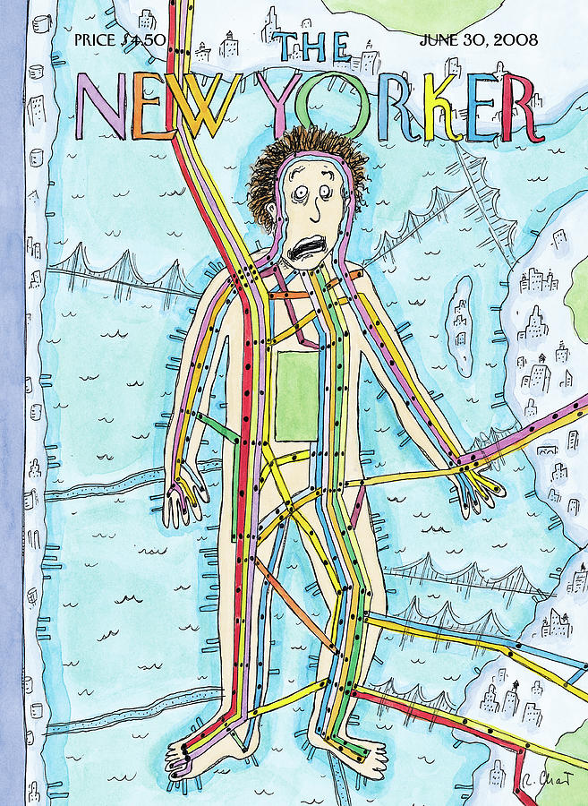 Subway Man Painting by Roz Chast