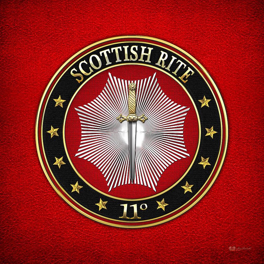 Scottish Rite Digital Art - 11th Degree - Elu Of The Twelve Jewel On Red Leather by Serge Averbukh