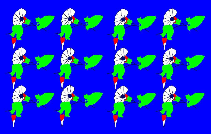 12 Bindweed Flowers On Blue Digital Art by Asbjorn Lonvig