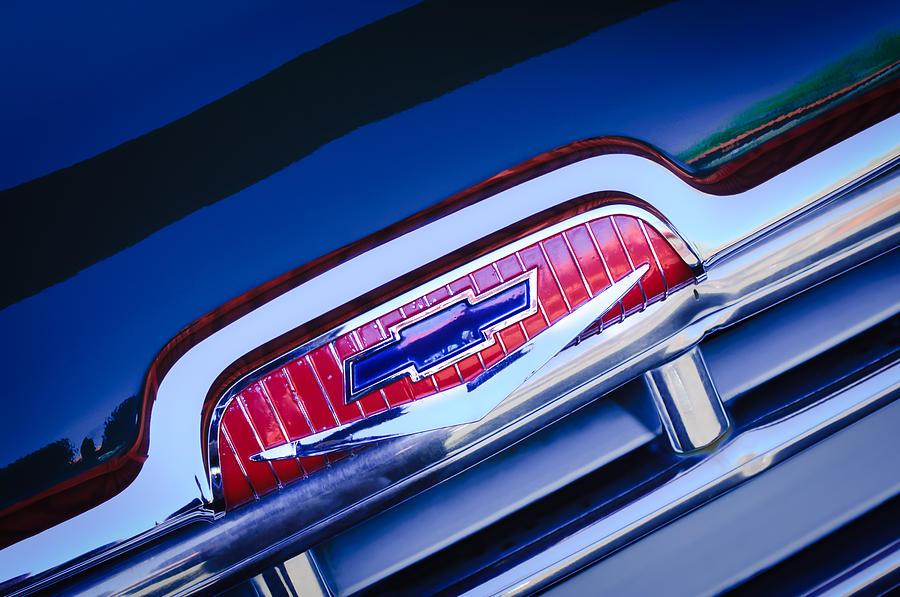 Classic Cars Photograph - Chevrolet Grille Emblem by Jill Reger
