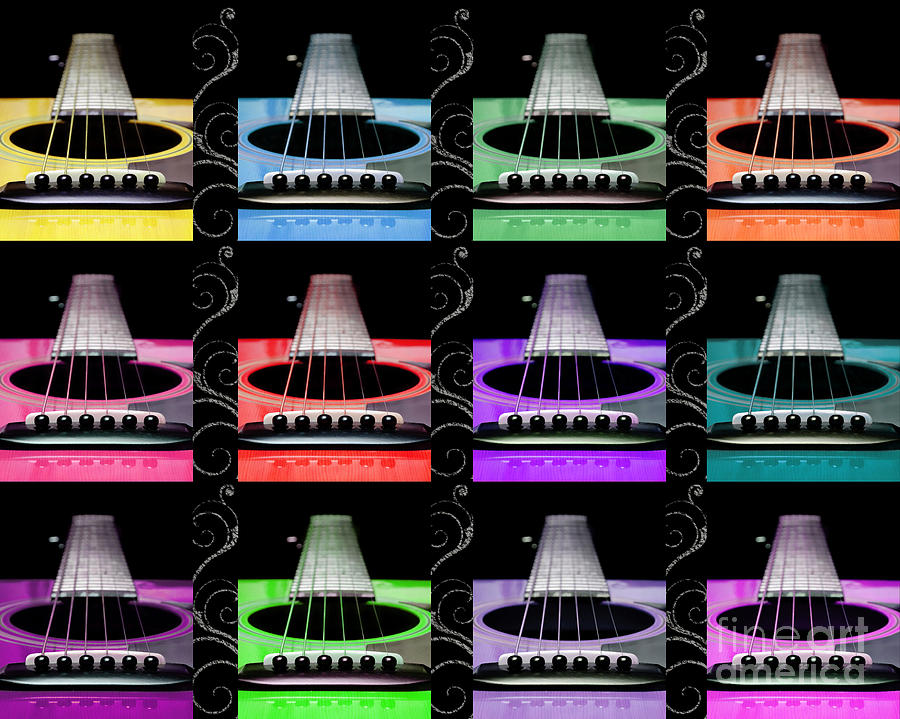 Guitar Photograph - 12 Color Guitars by Andee Design