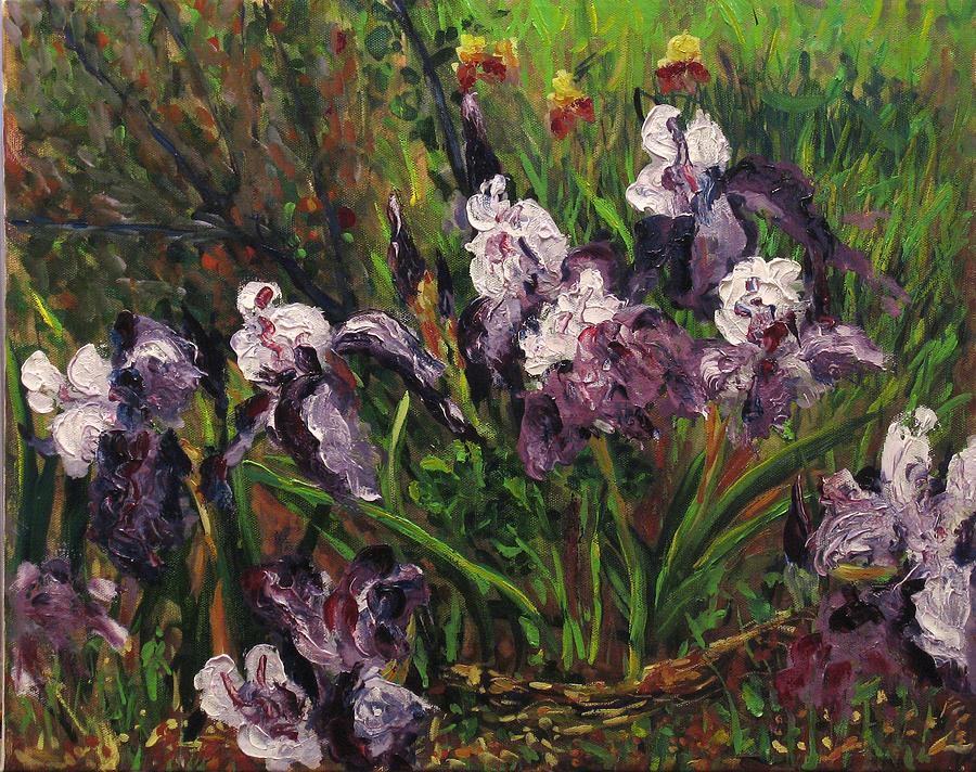 Oil Painting - Irises by Vladimir Kezerashvili
