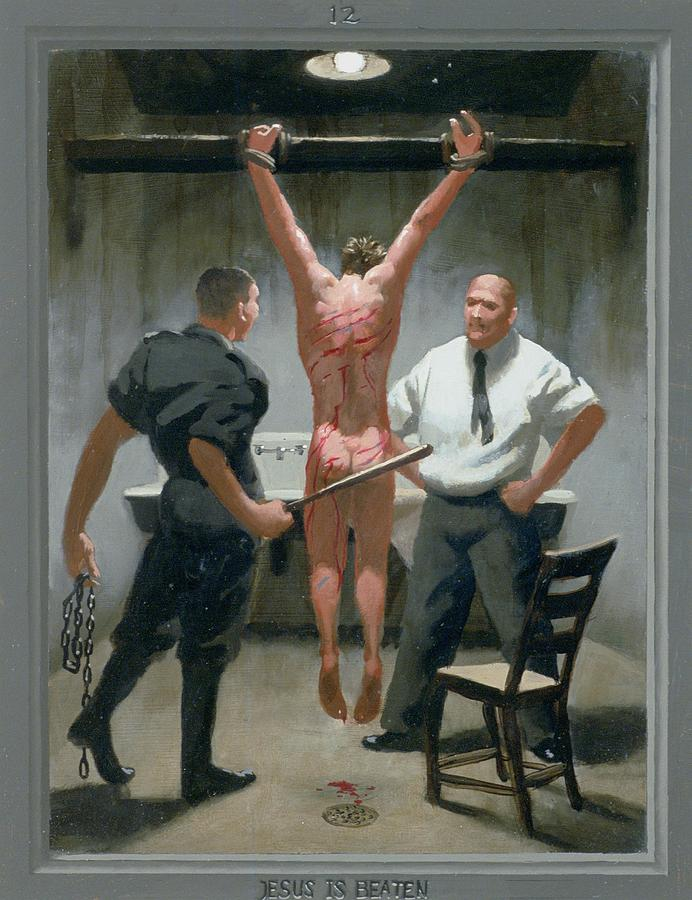 Jesus Painting - 12. Jesus Is Beaten / From The Passion Of Christ - A Gay Vision by Douglas Blanchard