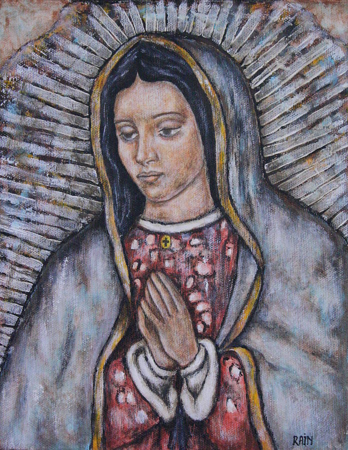 Folk Art Paintings Painting - Our Lady Of Guadalupe by Rain Ririn