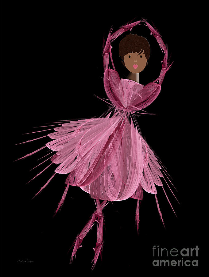 Ballerina Digital Art - 12 Pink Ballerina by Andee Design