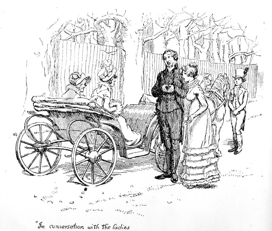 In Conversation With The Ladies; Illustration; Pride And Prejudice; Jane Austen; Edition; Illustrated; Mr;collins; Charlotte Lucas; Husband; Wife; Miss; De Bourgh; Mrs; Jenkinson; Phaeton; Lady Catherine De Bourgh; Elizabeth Bennet; Bennet's; Visit; Hunsford; Parsonage; Rosings; Pompous; Clergyman; Georgian; Regency; Costume; Carriage; Talking; De Bourgh's; Daughter Drawing - Scene From Pride And Prejudice By Jane Austen by Hugh Thomson