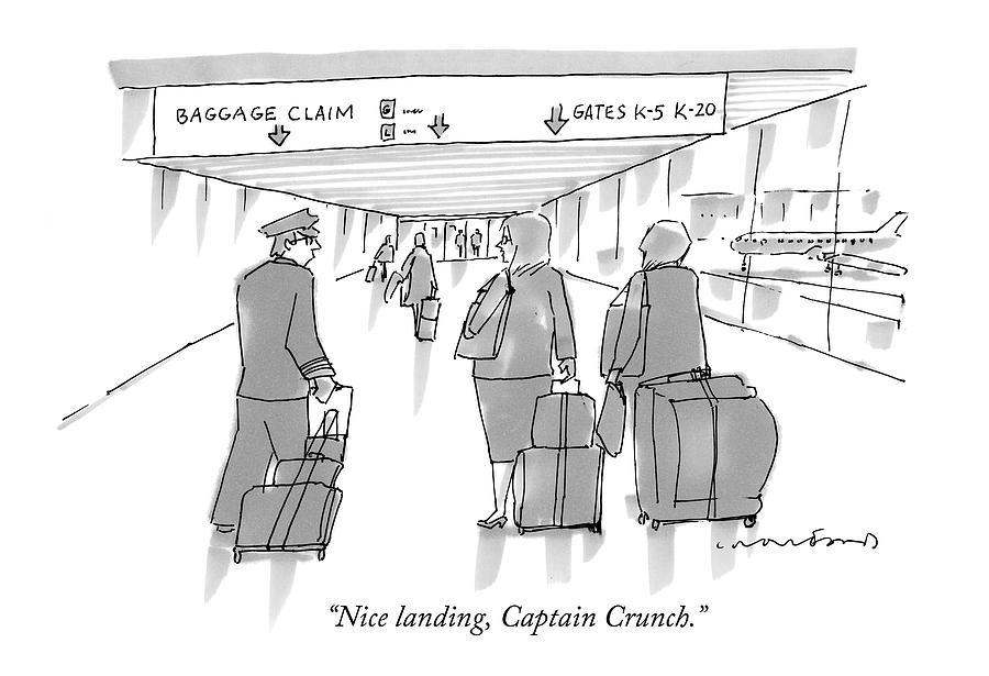 Nice Landing Drawing by Michael Crawford