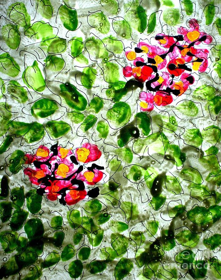 Flowersmy New Series     Zen Moksha Flowers/ Mann Flowers/miyoko Flowers• Each Work Tells A Story – Of Travels And Travails Painting - Zenmoksha Flowers by Baljit Chadha