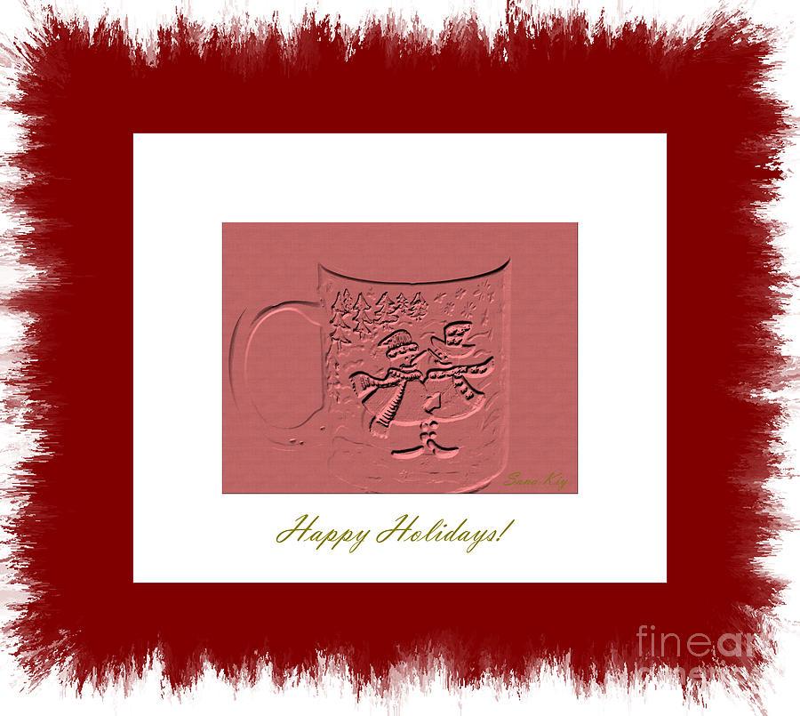 Cup Digital Art - Happy Holidays by Oksana Semenchenko