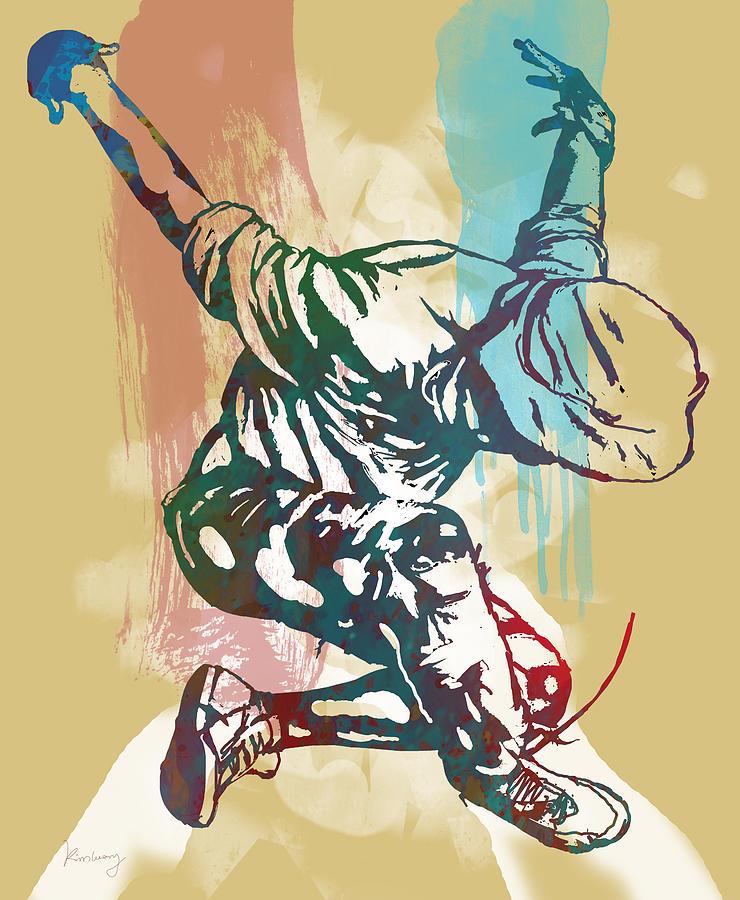 Nude Drawing - Hip Hop Street Dancing  Pop Stylised Art Poster 13 by Kim Wang