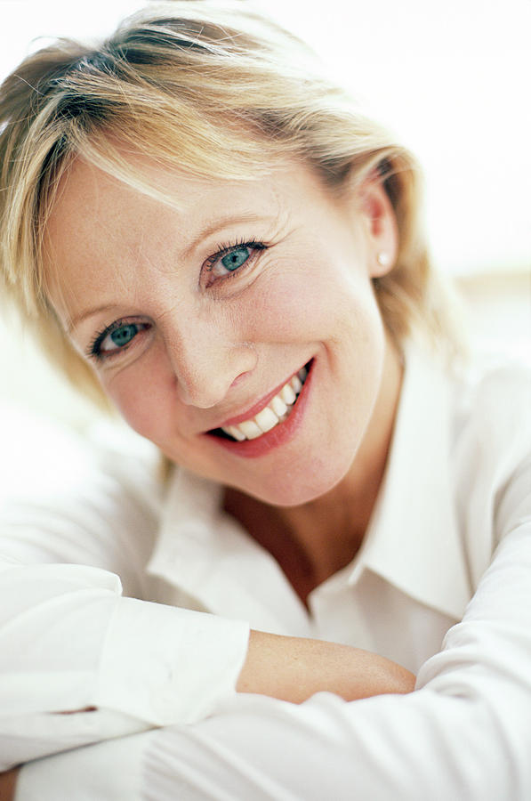 Human Photograph - Smiling Woman by Ian Hooton/science Photo Library