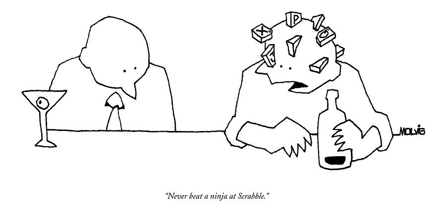 Word Play Drawing - Never Beat A Ninja At Scrabble by Ariel Molvig
