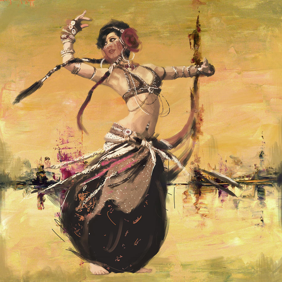 Belly Dancer Painting - Abstract Belly Dancer 14 by Corporate Art Task Force