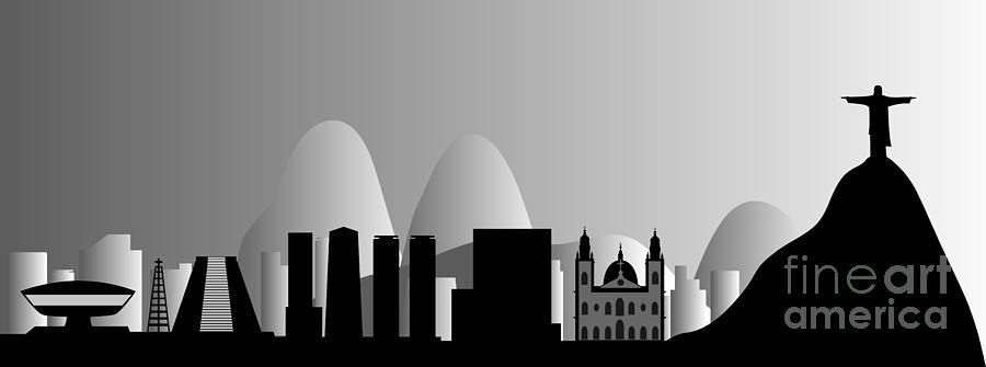 Background Digital Art - Rio De Janeiro Skyline by Michal Boubin