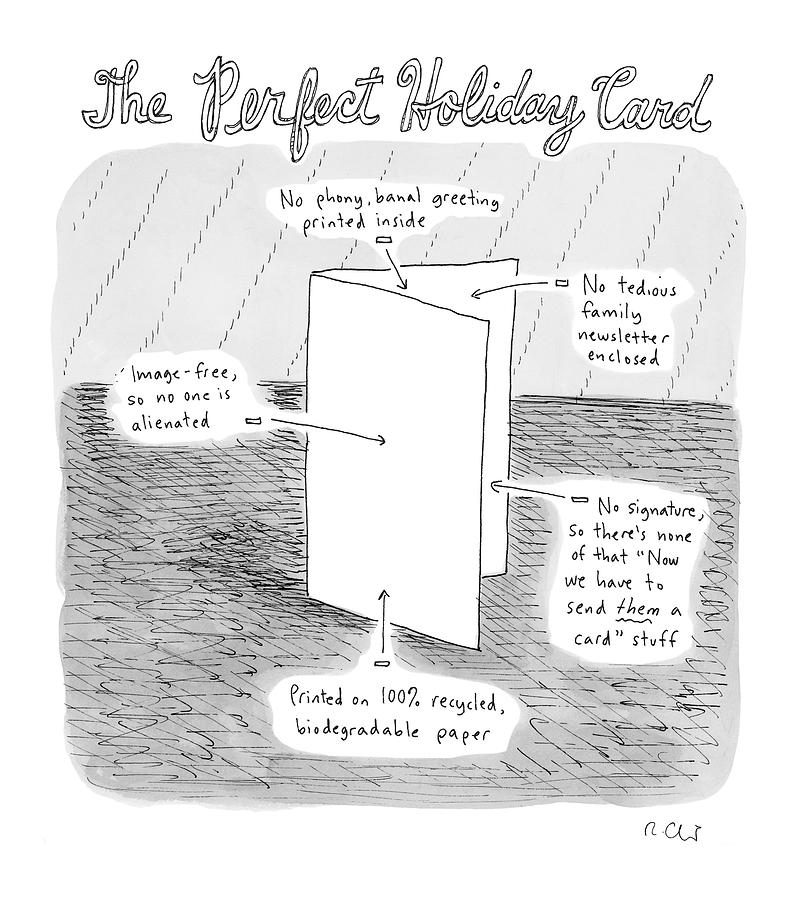 The Perfect Holiday Card Drawing by Roz Chast