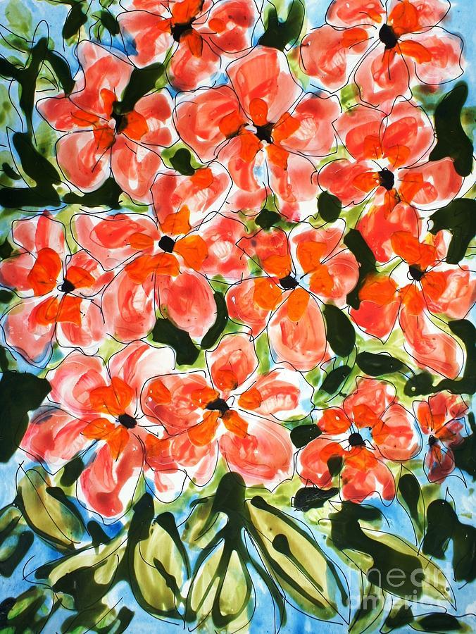 Happiness Painting - Zenmoksha Flowers by Baljit Chadha