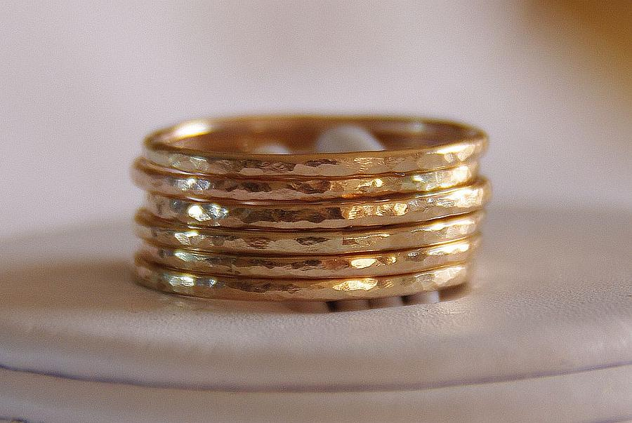 Jewelry Jewelry - 14k Gold Filled Stacking Stackable Rings Wedding Bands  Set Of Six Sizes 4 5 6 7 8 9 10 11 12 by Nadina Giurgiu