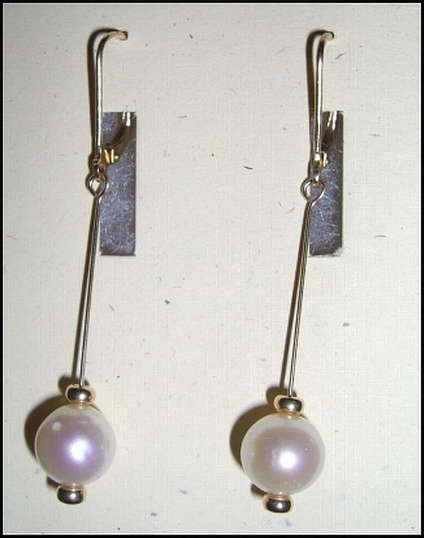 Pearl Jewelry - 14k Gold Pearl Earrings by Ann Mooney