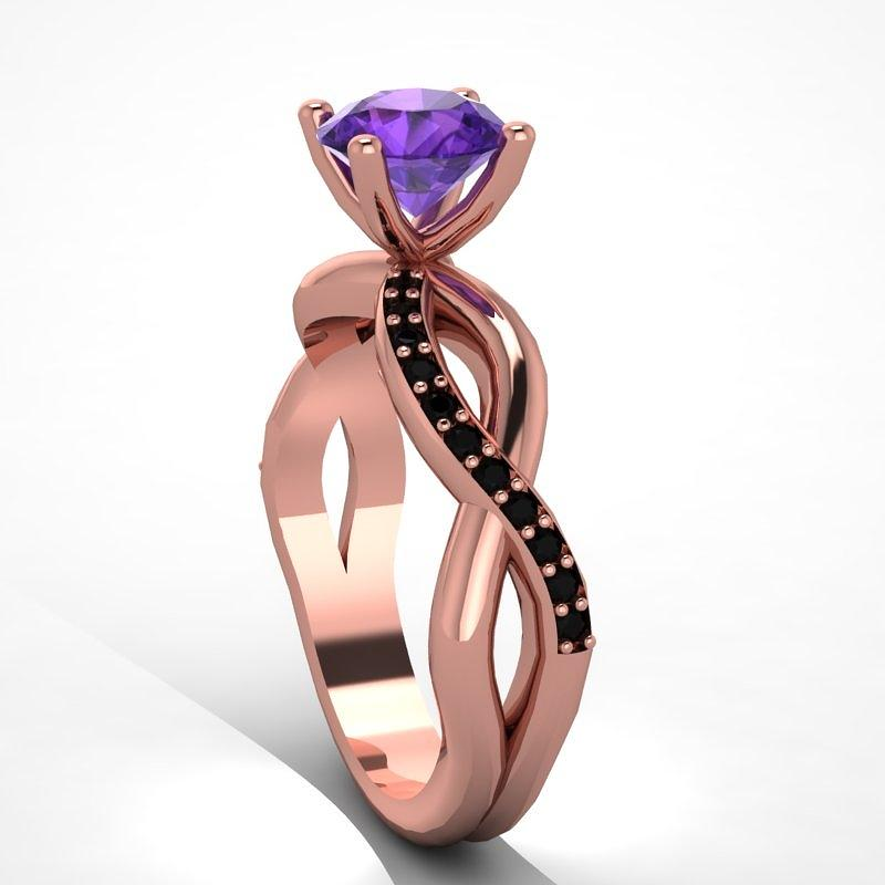 14k Rose Gold Black Diamond Ring With Amethyst Center Stone Jewelry